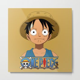 Kid Luffy sad pose - OnePiece Metal Print