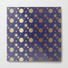 Blue Gold Space Metal Print