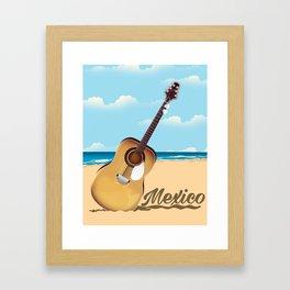 Mexican Guitar beach poster Framed Art Print