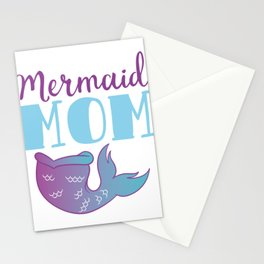 "Unique Mermaid Shirt For Mermaid Mother Lovers Saying ""Mermaid Mom"" T-shirt Design Wheel Ocean Swim Stationery Cards"