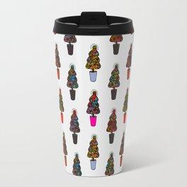 Colorful Decorated Christmas Trees Travel Mug