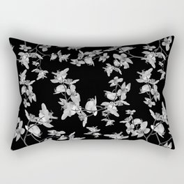 Dark Orquideas Floral Pattern Rectangular Pillow