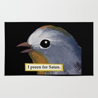 satan Area & Throw Rugs featuring I preen For Satan by JK Designs