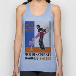 Vintage 1930 Drinking Absinthe Causes Death Alcoholic Beverage Advertising Poster Unisex Tank Top