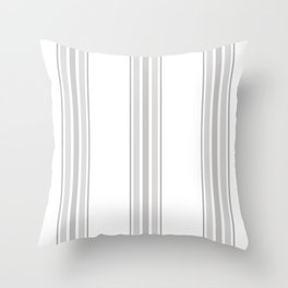 Farmhouse Ticking Stripes in Gray on White Throw Pillow