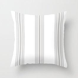 Farmhouse Ticking Stripes in Gray on White Throw Pillow