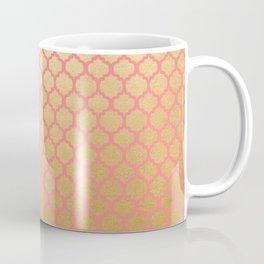 Elegant pink coral faux gold glitter vintage quatrefoil Coffee Mug