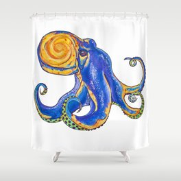 Galactapus The Lord of Space, an Octopus Illustration by Imaginarium Arts Shower Curtain