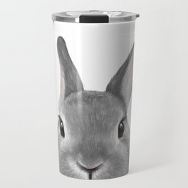 Netherland Dwarf rabbit Grey, illustration original painting print Travel Mug