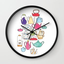 cute teapot collection on white Wall Clock