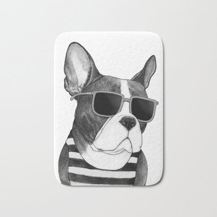 Frenchie Summer Style b&w Bath Mat