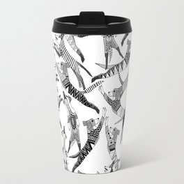 dog party black white Travel Mug