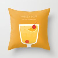 alcohol Throw Pillows featuring Whiskey Sour - Alcohol by Stacia Elizabeth