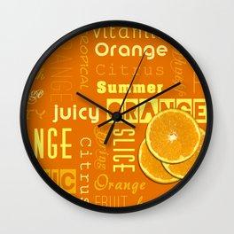Orange Fruit Slices Summer Typography Wall Clock