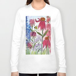 Watercolor Acrylic Cottage Garden Flowers Long Sleeve T-shirt