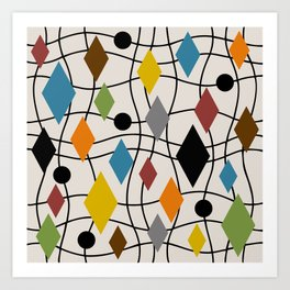 Colorful Mid Century Modern Geometric Abstract 121 Art Print