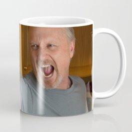 Angry Man with handgun in kitchen Coffee Mug