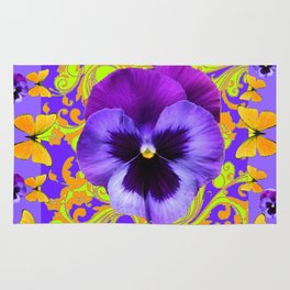 PURPLE PANSIES YELLOW BUTTERFLIES ABSTRACT FLORAL Rug