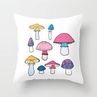 mushroom Throw Pillows featuring Mushroom by Elyse Beisser