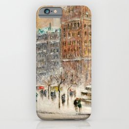Winter at the Plaza, New York City landscape by Guy Carleton Wiggins iPhone Case