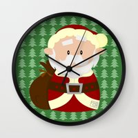 santa Wall Clocks featuring Santa by Alapapaju