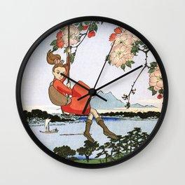 Arrietty landing - a japanese woodblock mashup Wall Clock