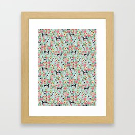 Great Dane dog breed florals mint pattern print for dog owner with great dane must have gifts Framed Art Print