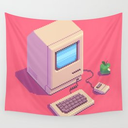 Retro Macintosh - pixel art by Romain Courtois Wall Tapestry