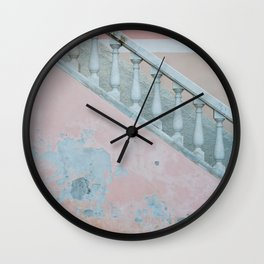 Pink wall of Capri, Italy | Abstract photography of a wall on the island | Travel photography fine art print Wall Clock