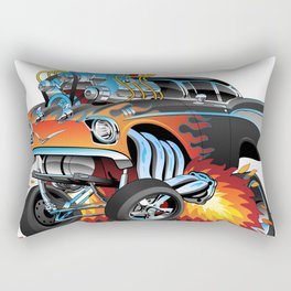 Classic hot rod 57 gasser drag racing muscle car cartoon Rectangular Pillow