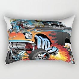 Classic hotrod 57 gasser drag racing muscle car cartoon Rectangular Pillow
