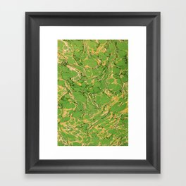 Marbled Paper – Green Framed Art Print