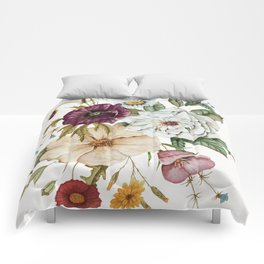 Colorful Wildflower Bouquet on White Comforters