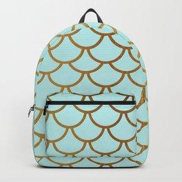 Aqua Teal And Gold Foil MermaidScales - Mermaid Scales Backpack