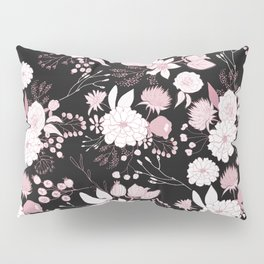 Blush pink white black rustic abstract floral illustration Pillow Sham