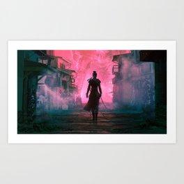 Fascinating Female Warrior Futuristic Fantasy Cyber Village Ultra HD Art Print