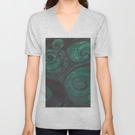 Swirl (black and green) Unisex V-Neck
