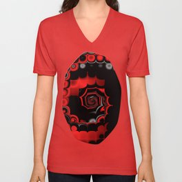 TGS Fractal Abstract in Red and Black Unisex V-Neck
