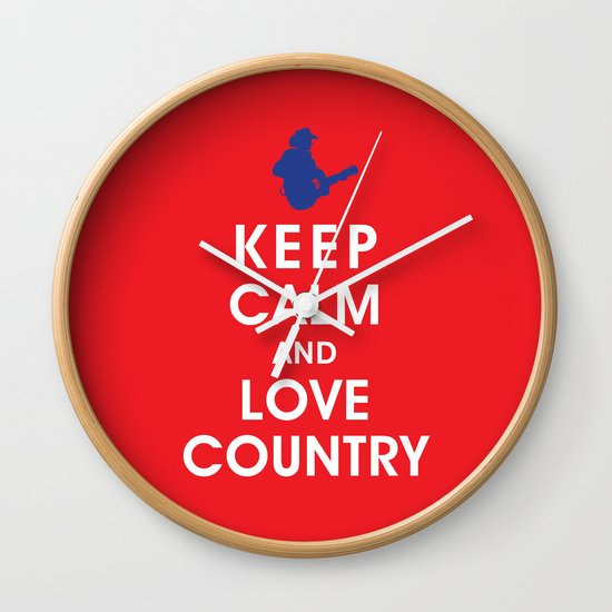 Keep Calm and Love Country Wall Clock