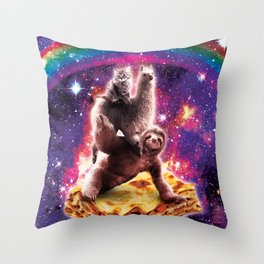 Space Cat Llama Sloth Riding Lasagne Throw Pillow