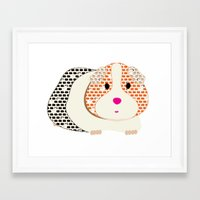 guinea pig Framed Art Prints featuring Guinea Pig Patterned Guinea Pig by Upcyclepatch