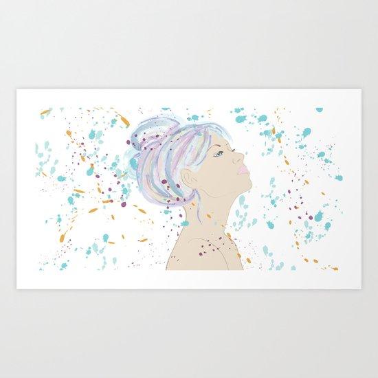 Watercolor Hair Art Print