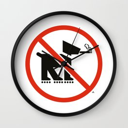 No smoking dogs on rollerblades allowed Wall Clock