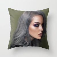 silver Throw Pillows featuring Silver by Brandon Lundby
