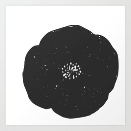 Black and White Poppy Art Print