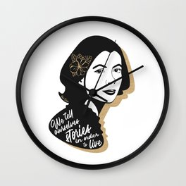 We Tell Stories - Joan Didion - Black & Gold Wall Clock