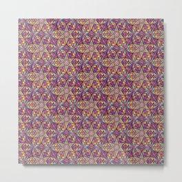 Kaleidoscope Purple-Yellow Pattern Metal Print