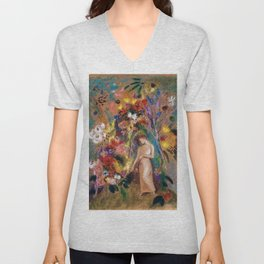 Female figure into red poppy, calla lilies, hibiscus, and flowers portrait painting by Odilon Redon Unisex V-Neck