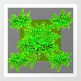 REFRESHING  NATURAL GREEN FERNS  GREY ART Art Print