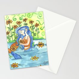 Sunflower Mermaid Stationery Cards